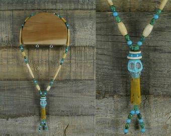 Carved stone Skull bead necklace by Vicki Hudson