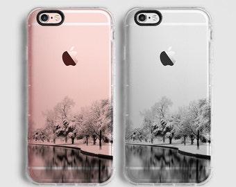 Snowy landscape iPhone 8 case, iPhone 7 Plus case, iPhone 7 case, iPhone 6s plus case, iPhone 6s case,  clear case, black grey C059