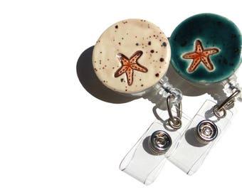 Ocean Starfish Retractable ID Badge Reel Holder, Blue Graduation Gift for Nurse, CNA, RN Retractable Beach Scissor Holder Gift for Quilter