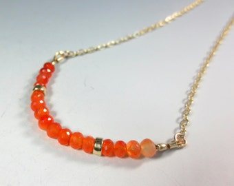 Carnelian Necklace, 14k Gold Filled Necklace, Carnelian Ombre Necklace, Gift for Her, Orange Gemstone Necklace Gold Carnelian Jewelry (#386)