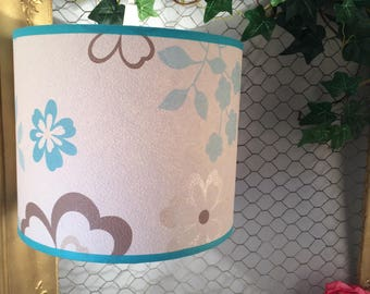 Brown and turquoise flowers hanging or Lampshade.
