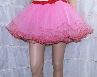 Cotton Candy Pink Red Piped Costume TuTu Crinoline Skirt MTCoffinz --- Adult All Sizes