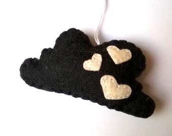 Felt Cloud ornament Christmas dark grey with hearts friendly home decor housewarming decoration nursery baby mobile