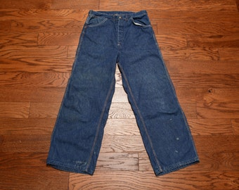 vintage 40s 50s jeans denim workwear work wear jeans button fly carpenter 1940 1950 menswear denim 30x27