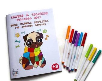 Coloring book, funny animal, bilingual, coloring animals