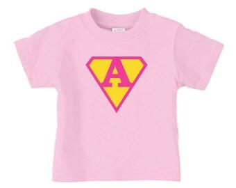 Personalized super girl t shirt, girls superhero birthday t shirt for girls