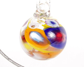 110251 Medium Hand Blown Hanging Art Glass Ball Decorative Ornament