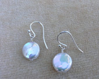 White Freshwater Coin Pearl Sterling Silver Earrings 801