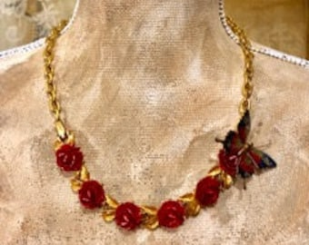 Vintage Re~Purposed Assemblage Statement Necklace Butterfly