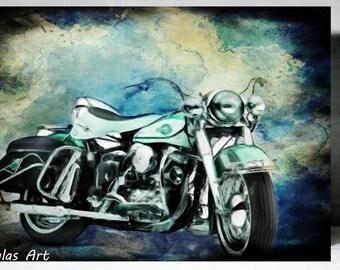Vintage Classic Motorbike Retro Style Art Harley-Davidson Electra Glide 1960 Painting Bike Home decor Wall Art Decorative Interior design