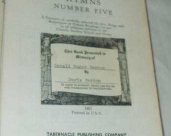 Antique Christian Songbook Tabernacle Hymns Number Five Hymnal Book First Baptist Church Indian Lake New York Church Choir