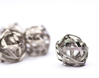 5pics Wire Bundle Beads Ball, Industrial Beads, Metal Beads, Silver Color Ball Beads, 20mm, Large Spacer Beads, Wire Ball Bead