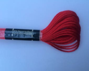 Embroidery FLOSS mouline satin-red color S606
