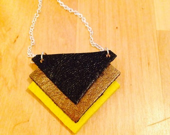 Triangle leather necklace