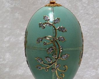 Green goose egg ornament