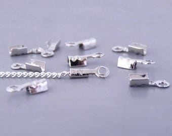20 crimp ends very purposes for chains and cords 1 mm, size 7 x 2 mm - color Platinum (EF0101)