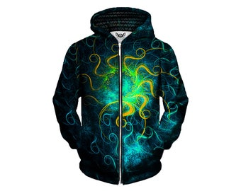 Trippy Zip Up Hoodie - Psychedelic Spacey Art Hoody - Pattern Jumper - EDM Festival Hoodies