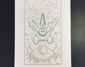 18-La Lune, Illustration originale à l'encre noire
