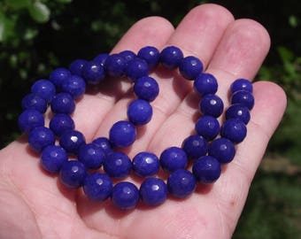 4 BEADS SAPPHIRE BLUE 8 MM ROUND FACETED A.