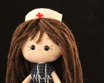 Nurse doll - felt doll - Gingermelon doll