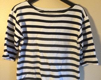 Striped boat neck quarter length sleeve top