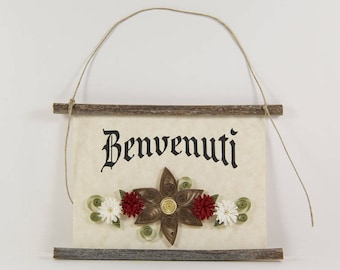 Benvenuti, Italian Welcome, Paper Quilled Welcome Sign, 3D Paper Quilled Banner, Brown Red White Decor, Italy Gift, Italian Welcome Sign