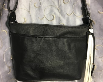 Black and Graphite Grey Leather cross body shoulder bag