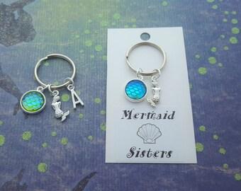 Mermaid Keychain, Mermaid Sisters, Sister Keyring, Sibling Gift, Mermaid Scales, Nautical Gift, Ocean Keychain, Beach Bag Accessory, Gift