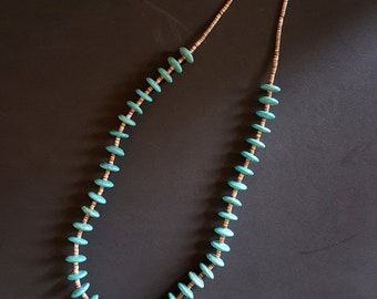 22 inches Kingman turquoise Heishi beaded necklace - sterling silver closure