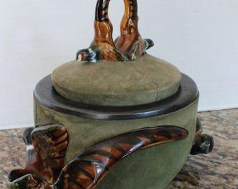 Antique Longchamp France Majolica Pheasant Pipe Holder Tobacco Humidor