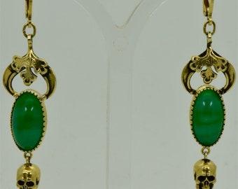 Antique Victorian Memento Mori Skull gold plated silver&chrysoprase Earrings set