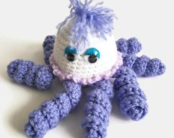Small Plush Octopus Purse Charm, Purple and White Amigurumi Octopus Keychain, Kawaii Stuffed Octopus Toy, Crochet Octopus Key Ring