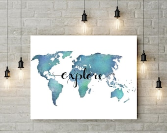 Travel Poster Explore Wall Art World Map Poster - Travel Nursery Decor Explore Poster Travel Quote Wall Art Teal Posters Large Wall Art