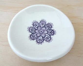 Purple and white porcelain ring holder, jewellery holder, ring dish. Ceramic bowl. Ring pillow. Engagement or wedding gift.