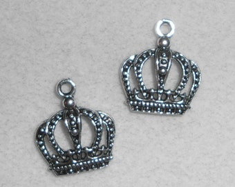 Silver  Reniassance Crown Charms