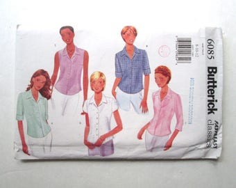 button front blouse with collar, fitted shirt, cap sleeves, short sleeves, roll up sleeves, sleeveless, Butterick 6085, womens 8 10 12, 90s
