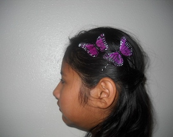 DARK VIOLET MONARCH - A Set Of 2 Feather Butterflies On Bobby Pins, Butterflies Hair Clips, Weddings, Bridesmaids, Easter, For Her