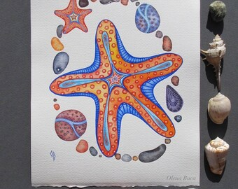 Sea Star Painting/ ORIGINAL Watercolor Painting/ Coastal Beach House Decor/ Nautical Illustration/ Ocean Wall art/ Gift for