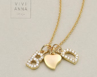 Personalisiete wish name chain with letter pendant PN008