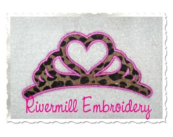 Heart Shaped Crown Applique Machine Embroidery Design - 4 Sizes