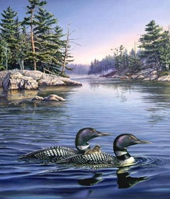 Loon Lake Fabric Panel by Northcott DP21935 Naturescapes