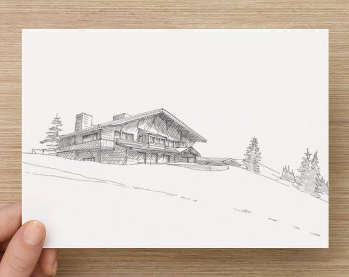 Ink Sketch of Hurricane Ridge in Olympic National Park - Drawing, Art, Pen and Ink, Landscape, Snow, Mountain Lodge, Architecture, 5x7, 8x10