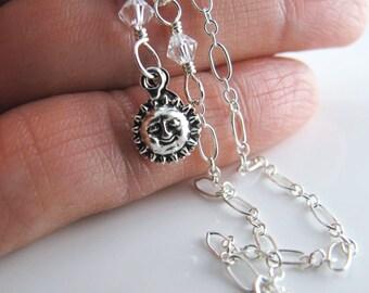 Yvette Sunshine Ankle Bracelet - Anklet, Sterling Silver, Swarovski Crystals, Sun Charm