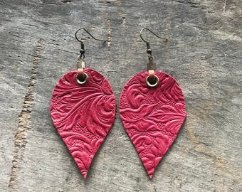 Red Leather Leaf Earrings