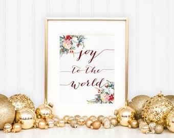 Christmas mantel decor, Printable Christmas decor, Joy to the world Christmas Art Christmas print Winter Decor Winter wall art Holiday decor