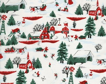 White Christmas by Patrick Lose for RJR Fabrics -Full or Half Yard Winter Scenery in Red, Green, and White - Snow, Pine Trees, Barns, Sleigh