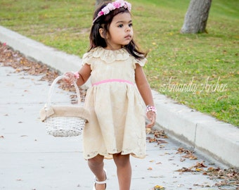 Beige Flower Girl Dress, Lace Flower Girl Dress, Vintage Inspired Flower Girl, Rustic Flower Girl, Toddler Flower Girl, Beach Wedding Dress