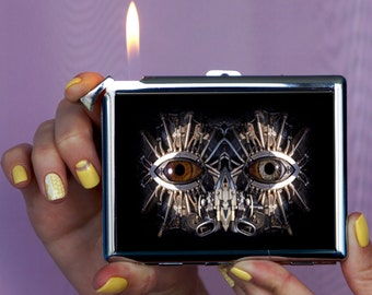 Cigarette case eyes steampank, cigarette case, steampank, metal cigarette case, Chrome Lighter, unusual lighters