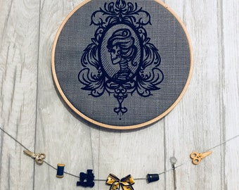 Gothic Skeleton Cameo - Hooped Machine Embroidered Wall Hanging