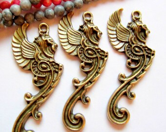 4 Antique bronze griffin winged neo victorian charms 25mm x 48mm renaissnce jewelry